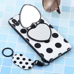 Love Mirror MobilePhone Protection Back Cover Case with Ring Hanging Rope & Holder for iPhone XS Max(Black Polka Dots)