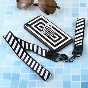 Black And White Pattern Mobile Phone Protective Back Cover Case with Long And Short Dual-Purpose Hanging Rope & Holder for iPhone XR(Pane)
