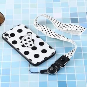 Black And White Pattern Mobile Phone Protective Back Cover Case with Hanging Rope & Holder for iPhone XR(Black Polka Dots)