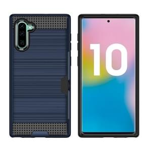 Ultra-thin TPU+PC Brushed Texture Shockproof Protective Case with Card Slot for Galaxy Note 10(Navy Blue)