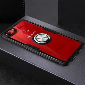 Ultra-thin TPU Protective Case with 360 Degree Rotation Holder for OPPO F7(Silver Black)