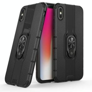 Litchi Texture PC + TPU Combination Case with Magnetic Ring Holder For iPhone XS Max(Black)