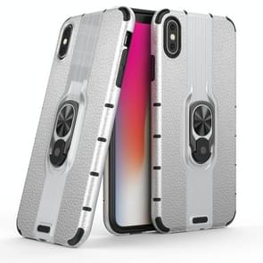 Litchi Texture PC + TPU Combination Case with Magnetic Ring Holder For iPhone XS Max(Silver)