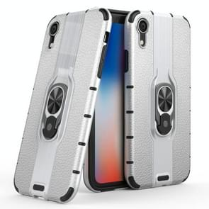 Litchi Texture PC + TPU Combination Case with Magnetic Ring Holder For iPhone XR(Silver)