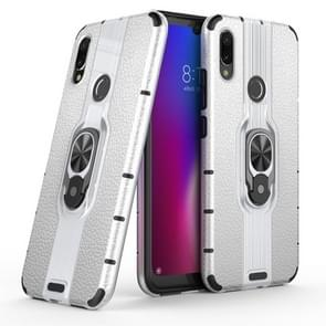 Litchi Texture PC + TPU Combination Case with Magnetic Ring Holder For Xiaomi Redmi Note 7(Silver)