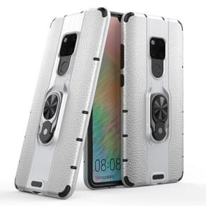 Litchi Texture PC + TPU Combination Case with Magnetic Ring Holder For Huawei Mate 20(Silver)