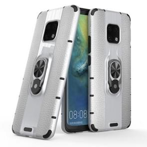 Litchi Texture PC + TPU Combination Case with Magnetic Ring Holder For Huawei Mate 20 Pro(Silver)