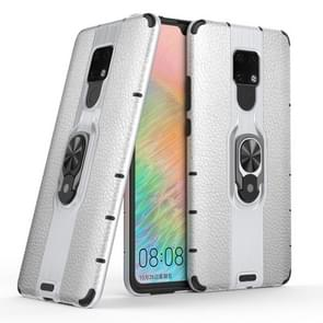 Litchi Texture PC + TPU Combination Case with Magnetic Ring Holder For Huawei Mate 20 X(Silver)