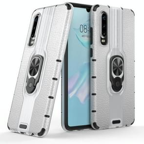 Litchi Texture PC + TPU Combination Case with Magnetic Ring Holder For Huawei P30(Silver)