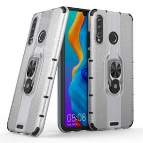 Litchi Texture PC + TPU Combination Case with Magnetic Ring Holder For Huawei P30 lite(Silver)