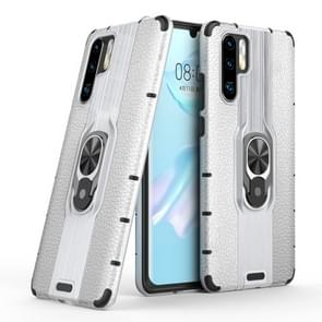 Litchi Texture PC + TPU Combination Case with Magnetic Ring Holder For Huawei P30 Pro(Silver)