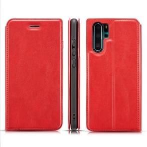 Retro Simple Ultra-thin Magnetic Leather Case with Holder & Card Slots & Lanyard for Galaxy Note 10+(Red)