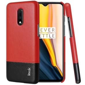 IMAK Ruiyi Series Concise Slim PU + PC Protective Case For OnePlus 7(Black+Red)