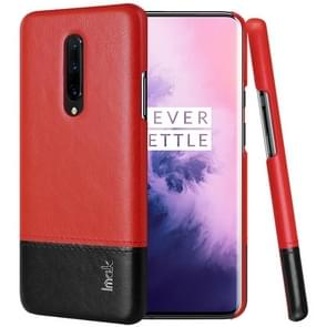 IMAK Ruiyi Series Concise Slim PU + PC Protective Case For OnePlus 7 Pro(Black+Red)