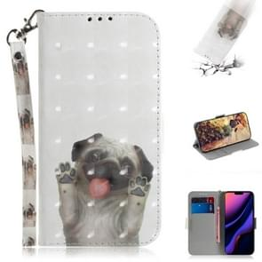 3D Colored Drawing Horizontal Flip Leather Case, with Holder & Card Slot & Wallet For iPhone XI 2019(Pug)