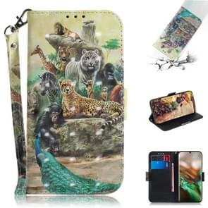 3D Colored Drawing Horizontal Flip Leather Case, with Holder & Card Slot & Wallet For Galaxy Note 10(Zoo)