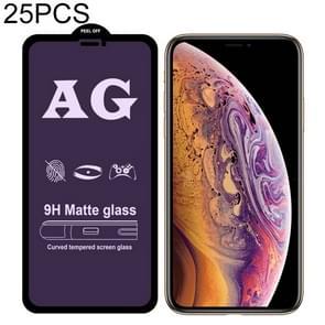 25 stuks AG matte anti blauw licht volledige dekking gehard glas voor iPhone XS Max