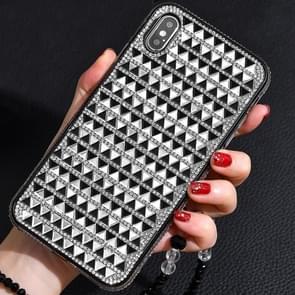 TPU + epoxy driehoekige glas diamant telefoon beschermende case voor iPhone XS/X (zwart wit)