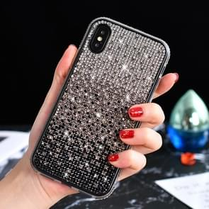 TPU + Epoxy Flash Diamond Tri-Color Gradient Phone Protective Case for iPhone XS / X(Gradient Black)