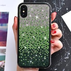 TPU + Epoxy Flash Diamond Tri-Color Gradient Phone Protective Case for iPhone XS / X(Gradient Green)