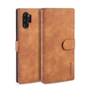 DG.MING Retro Oil Side Horizontal Flip Case with Holder & Card Slots & Wallet for Galaxy Note 10+(Brown)