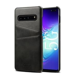 Suteni Calf Texture Back Cover Protective Case with Card Slots for Galaxy S10 5G(Black)