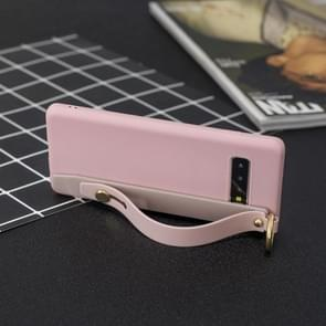 Shockproof Solid Color TPU Case with Wristband For Galaxy S10e(Pink)