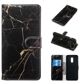 Gekleurde tekening marmeren patroon horizontale Flip PU lederen draagtas met houder & kaartsleuven & portemonnee voor OnePlus 7 (zwart goud)