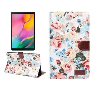 Dibase bloem patroon doek oppervlak horizontale Flip PC + PU lederen draagtas met houder & kaartsleuven & slaap/Wake-up functie voor Galaxy tab A 8 0 inch (2019)/T290/T295 (wit)