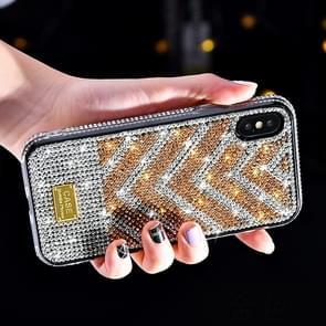 TPU + Epoxy Gradient Diamond Series Phone Protective Case for iPhone XS / X(Gold)