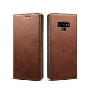 Suteni Calf Texture Horizontal Flip Leather Case with Holder & Card Slots & Wallet for Galaxy Note 9(Brown)