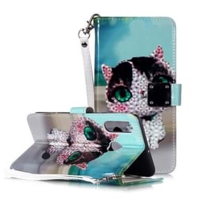 Magic 3D Bright Coloured Drawing Pattern Horizontal Flip PU Leather Case with Holder & Card Slots & Wallet & Photo Frame for Huawei P30 Lite(Cute Cat)