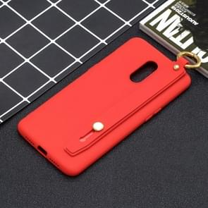 Shockproof Solid Color TPU Case with Wristband For OnePlus 7(Red)