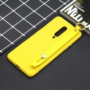 Shockproof Solid Color TPU Case with Wristband For OnePlus 7 Pro(Yellow)