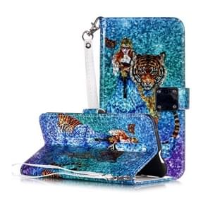 Magic 3D Bright Coloured Drawing Pattern Horizontal Flip PU Leather Case with Holder & Card Slots & Wallet & Photo Frame for OnePlus 7 Pro(Beauty and Tiger)