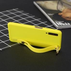 Shockproof Solid Color TPU Case with Wristband For Huawei P30(Yellow)
