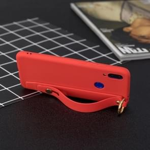 Shockproof Solid Color TPU Case with Wristband For Huawei Y9 (2019)(Red)