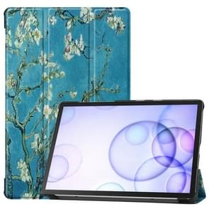 Colored Drawing Horizontal Flip Leather Case with Three-folding Holder & Sleep / Wake-up Function for Galaxy Tab S6(Apricot Flower)