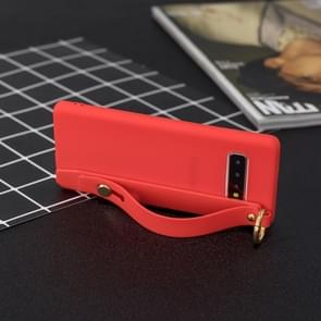Shockproof Solid Color TPU Case with Wristband For Galaxy S10+(Red)