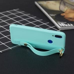 Shockproof Solid Color TPU Case with Wristband For Xiaomi Redmi Note 7(Baby Blue)