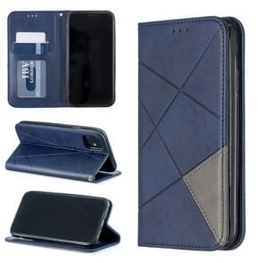 Rhombus Texture Horizontal Flip Magnetic Leather Case with Holder & Card Slots & Wallet For iPhone 11(Blue)