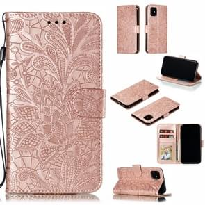 Lace Flower Horizontal Flip Leather Case with Holder & Card Slots & Wallet for iPhone XIR (2019)(Rose Gold)