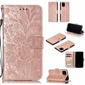 Lace bloem horizontale Flip lederen draagtas met houder & card slots & Wallet voor iPhone XI Max (2019) (Rose goud)