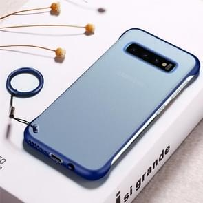 Frosted Anti-skidding TPU Protective Case with Metal Ring for Galaxy S10+(Blue)