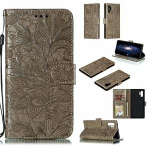 Lace Flower Horizontal Flip Leather Case with Holder & Card Slots & Wallet for Galaxy Note 10+(Grey)