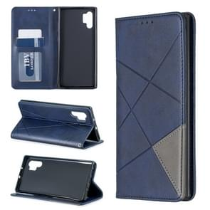 Rhombus Texture Horizontal Flip Magnetic Leather Case with Holder & Card Slots & Wallet For Galaxy Note10+(Blue)