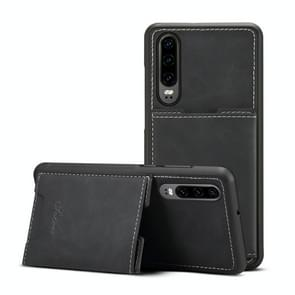 PU + TPU beschermhoes met kaartsleuven voor Huawei P30 (zwart)