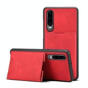 PU + TPU beschermhoes met kaartsleuven voor Huawei P30 (rood)