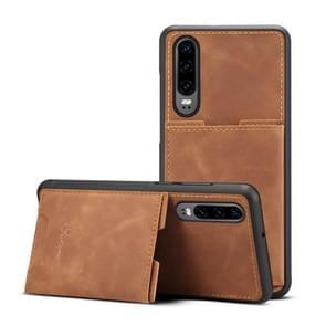 PU + TPU beschermhoes met kaartsleuven voor Huawei P30 (bruin)