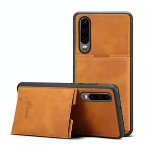 PU + TPU Protective Case with Card Slots for Huawei P30(Khaki)